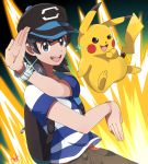 10s 1boy backpack bag black_hair brown_eyes electricity highres kuruto. looking_at_viewer male_focus male_protagonist_(pokemon_sm) pikachu pokemon pokemon_(creature) pokemon_(game) pokemon_sm pose shirt short_hair signature smile striped striped_shirt t-shirt z-ring