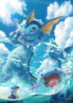 ;3 ;d blue_eyes blue_sky bottle clouds cloudy_sky highres lapras mudkip no_humans one_eye_closed open_mouth partially_submerged pokemon pokemon_(creature) sky smile splashing tail toitoi508 tongue vaporeon water wooper