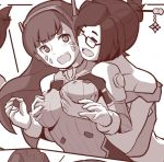 2girls bangs blush bodysuit breast_grab breast_squeeze breasts brown_hair closed_eyes d.va_(overwatch) erect_nipples facial_mark glasses grabbing grabbing_from_behind groping hair_bun hair_ornament hair_stick headphones large_breasts long_hair looking_at_another mei_(overwatch) monochrome multiple_girls niseoto open_mouth overwatch surprised swept_bangs whisker_markings yuri
