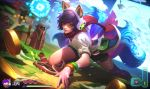>_< 1girl ^_^ ahri alex_flores all_fours alternate_costume animal_ears arcade_ahri bangle black_shorts blue_eyes bracelet brown_gloves closed_eyes closed_mouth clouds coin controller dutch_angle fake_screenshot final_boss_veigar fox_ears fox_tail gloves glowing glowing_hand grass hair_over_one_eye handheld_game_console headphones health_bar heart holding holding_weapon hood jewelry joystick league_of_legends mole mole_under_eye multiple_tails nail_polish number official_art on_ground pixels polearm puffy_short_sleeves puffy_sleeves purple_hair purple_legwear purple_nails red_scarf riot_games robe scarf shirt short_shorts short_sleeves shorts single_thighhigh smile spear standing tail thigh-highs veigar weapon white_shirt |_|