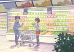 1boy 1girl black_hair black_legwear blurry box cabbage closed_eyes commentary_request denim food full_body groceries holding holding_food indoors jeans kitsu+3 long_sleeves matching_hairstyle original pants price_tag profile red_skirt scarf shadow shirt shop shopping shopping_cart short_hair skirt smile standing thigh-highs tile_floor tiles white_shirt zettai_ryouiki