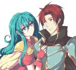 1boy 1girl aqua_hair armor bangs blue_armor blue_eyes blush bracelet cape couple echizen_(hvcv) eirika eye_contact fingerless_gloves fire_emblem fire_emblem:_seima_no_kouseki gloves hair_between_eyes hetero highres hug jewelry knight long_hair looking_at_another neck nintendo partly_fingerless_gloves puffy_short_sleeves puffy_sleeves red_eyes red_gloves redhead seth_(fire_emblem) short_hair short_sleeves sidelocks simple_background smile upper_body white_background