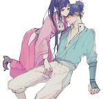 1boy 1girl azumi_(azunonnon) blue_hair blush japanese_clothes koutetsujou_no_kabaneri kurusu_(kabaneri) long_hair ponytail sketch yomogawa_ayame