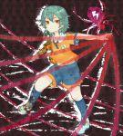 1boy brown_eyes green_hair highres inazuma_eleven_(series) inazuma_eleven_go itomugi-kun kariya_masaki lightning_bolt smile soccer_uniform solo spider sportswear