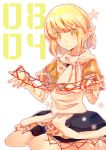 1girl :> atoki blonde_hair cat's_cradle green_eyes highres japanese_clothes mizuhashi_parsee pointy_ears scarf seiza sitting solo touhou