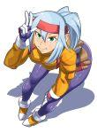 ashe_(rockman) belt blue_hair bodysuit green_eyes headband jacket leaning lol_(harikofu) ponytail rockman rockman_zx shadow shiny shiny_clothes shiny_hair simple_background smile spandex v