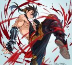 1boy action black_hair blood brown_hair cannon_dancer fingerless_gloves gloves indesign kirin_(cannon_dancer) long_hair male_focus muscle ponytail red_eyes solo