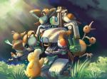 bastion_(overwatch) bush chain_gun crossover doduo farfetch'd gatling_gun grass gun machine_gun mecha minigun nature no_humans overwatch pidgey plant pokemon psyduck rifle risachantag robot spearow weapon