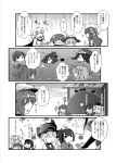 4koma 6+girls :d ahoge akatsuki_(kantai_collection) ancient_destroyer_oni braid budget_sarashi cape capera comic destroyer_hime drill_hair eyepatch greyscale hair_flaps hair_ornament hairclip hakama hat headgear i-168_(kantai_collection) i-401_(kantai_collection) i-58_(kantai_collection) i-class_destroyer japanese_clothes jintsuu_(kantai_collection) ka-class_submarine kantai_collection kiso_(kantai_collection) kuma_(kantai_collection) long_hair monochrome multiple_girls musashi_(kantai_collection) nagato_(kantai_collection) open_mouth remodel_(kantai_collection) sarashi school_uniform serafuku shigure_(kantai_collection) shimakaze_(kantai_collection) shinkaisei-kan short_hair side_ponytail single_braid smile so-class_submarine translation_request wo-class_aircraft_carrier yuudachi_(kantai_collection)