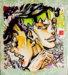 4boys ashiya_kouhei black_hair blood clenched_teeth earrings evil_smile green_eyes headband higashikata_jousuke highres hirose_kouichi jewelry jojo_no_kimyou_na_bouken kishibe_rohan lips male_focus marker_(medium) multiple_boys nijimura_okuyasu open_mouth pen pompadour purple_hair scared signature silver_hair smile stud_earrings teeth traditional_media