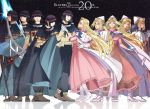 1997 2016 5boys 5girls 90s anniversary black_hair black_pants blonde_hair blue_bow blue_eyes boots bow brown_shoes cape circlet copyright_name dress filia_ul_copt frills full_body gloves hat highres long_hair lyxu multiple_boys multiple_girls multiple_persona one_eye_closed pants pink_dress shoes slayers slayers_try spiked_mace staff standing white_boots white_gloves white_hat xelloss