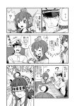 1boy 2girls ? adjusting_headwear admiral_(kantai_collection) ahoge antennae bangs biting boom_microphone commentary_request detached_sleeves dress gloves greyscale gundam hairband hakama hand_on_headwear hat headgear japanese_clothes kantai_collection kongou_(kantai_collection) lip_biting long_hair map military military_hat military_uniform monochrome multiple_girls nontraditional_miko open_mouth peaked_cap sailor_dress shaded_face sidelocks sitting sweatdrop table translation_request uniform watanore wide_sleeves yukikaze_(kantai_collection) zeta_gundam