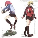2girls antennae black_boots blonde_hair boots controller darjeeling girls_und_panzer ground_vehicle jacket_on_shoulders knee_boots m24_chaffee military military_vehicle miniskirt motor_vehicle multiple_girls pink_hair ree_(re-19) remote_control rosehip sketch skirt tank vehicle vehicle_request