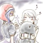 2girls baku_(creature) blue_hair blush commentary_request doremy_sweet hat hisan hug kishin_sagume multiple_girls musical_note pom_pom_(clothes) red_eyes shaded_face touhou white_hair
