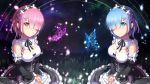 2girls arms_ai blue_eyes blue_hair blurry bob_cut butterfly depth_of_field detached_sleeves glowing glowing_butterfly grass hair_ornament hair_over_one_eye hair_ribbon hands_together highres light_particles light_smile looking_at_viewer maid md5_mismatch multiple_girls night night_sky pink_eyes pink_hair ram_(re:zero) re:zero_kara_hajimeru_isekai_seikatsu rem_(re:zero) ribbon short_hair siblings sisters sky star_(sky) starry_sky symmetry twins wallpaper x_hair_ornament