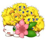 aimi biting blue_eyes blush green_eyes joltik lowres no_humans one_eye_closed open_mouth pokemon pokemon_(creature) shaking shaymin simple_background sweatdrop trembling white_background