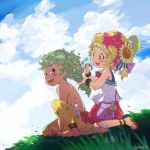 1boy 1girl anklet bag barefoot blush bracelet braiding_hair brown_eyes clouds final_fantasy final_fantasy_vi flower gau green_eyes green_hair hair_flower hair_ornament hairdressing handbag hat jewelry open_mouth outdoors pants relm_arrowny sandals scissors shirtless smile sunflower_hair_ornament umeda_yoshio