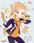 10s 1boy :3 blonde_hair electabuzz electrode fang gloves highres hood hoodie jacket jolteon looking_at_viewer magnemite magneton male_focus noni-nani open_clothes open_jacket orange_gloves pikachu pokemon pokemon_(creature) pokemon_go raichu red_eyes spark_(pokemon) spiky_hair voltorb zapdos |_|