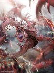andybelzark artist_name dragon duel_monster highres lightning no_humans open_mouth sharp_teeth slifer_the_sky_dragon spikes teeth yu-gi-oh!