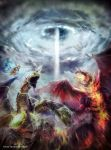 andybelzark battle butterfly dogoran_the_mad_flame_kaiju dragon duel_monster electricity fire gadarla_the_mystery_dust_kaiju highres multiple_heads no_humans open_mouth sharp_teeth sky teeth thunder_king_the_lightningstrike_kaiju yu-gi-oh!