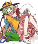 2girls :d black_hat blush bow bubble_skirt colored_pencil_(medium) eichi_yuu expressionless frilled_sleeves frills green_eyes green_hair green_skirt hat hat_bow hata_no_kokoro hug hug_from_behind kneeling knees_together_feet_apart knees_up komeiji_koishi long_sleeves mask mask_on_head monkey_mask multiple_girls open_mouth pink_eyes pink_hair pink_skirt plaid plaid_shirt shirt short_hair skirt smile string touhou traditional_media white_background wide_sleeves yellow_bow yellow_shirt
