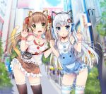 2girls animal_ears bell blue_eyes blush brown_hair choker copyright_request duji_amo fang female green_eyes grey_hair hand_holding headphones jewelry long_hair multiple_girls nail_polish nekomimi overalls ribbon shorts skirt tail thigh-highs tied_hair tuji twintails