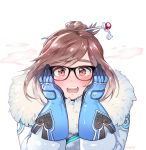 1girl artist_name bangs beads black-framed_eyewear blue_gloves blush coat embarrassed eyebrows eyebrows_visible_through_hair fur-lined_jacket fur_coat fur_trim glasses gloves hair_bun hair_ornament hair_stick hands_on_own_cheeks hands_on_own_face highres looking_at_viewer mei_(overwatch) open_mouth overwatch panza parka short_hair sidelocks snowflake_hair_ornament solo swept_bangs teeth upper_body winter_clothes winter_coat