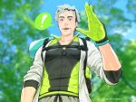 ! 10s 1boy artist_name bag beard black_eyes black_hair coat facial_hair glasses_on_head gloves grey_hair multicolored_hair open_mouth pokemon pokemon_(game) pokemon_go professor_willow rurya_niji solo teeth tree two-tone_hair upper_body willow_(pokemon)