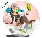 10s 1boy black_hair blush coat facial_hair glasses_on_head gloves grey_hair male_focus multicolored_hair open_mouth pokemon pokemon_(game) pokemon_go professor_willow two-tone_hair willow_(pokemon)