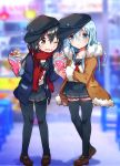 2girls akatsuki_(kantai_collection) alternate_eye_color alternate_hair_color black_hair black_headwear black_legwear black_sailor_collar black_skirt blue_eyes brown_coat brown_eyes brown_footwear buttons coat collarbone crepe eyebrows_visible_through_hair flat_cap food fringe_trim fur-trimmed_coat fur_trim hair_between_eyes hat hibiki_(kantai_collection) holding holding_food ichihaya kantai_collection long_hair long_sleeves multiple_girls neckerchief one_eye_closed open_mouth pantyhose pleated_skirt purple_coat red_neckwear red_scarf sailor_collar scarf school_uniform serafuku shoes silver_hair skirt thigh-highs uniform
