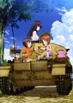 1boy 3girls :t absurdres arm_support basket black_eyes black_hair box brown_eyes brown_hair cardboard_box carrying carrying_over_shoulder casual caterpillar_tracks clouds cup eating eye_contact family food from_behind girls_und_panzer ground_vehicle happy hatch highres long_hair looking_at_another looking_back military military_vehicle mother_and_daughter motor_vehicle multiple_girls nishizumi_maho nishizumi_miho nishizumi_shiho nishizumi_tsuneo obentou official_art onigiri open_mouth pants pants_rolled_up panzerkampfwagen_ii picnic picnic_basket profile reaching_out riding road scan seiza short_hair siblings sisters sitting sky sleeveless sleeves_rolled_up smile spring_onion tank tank_top thermos translation_request tree vehicle wrapped_obentou younger
