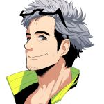 10s 1boy akausagi29 beard black_eyes black_hair facial_hair glasses_on_head grey_hair multicolored_hair pokemon pokemon_(game) pokemon_go portrait professor_willow simple_background solo two-tone_hair white_background willow_(pokemon)