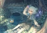 1girl :o animal_ears arm_support bangs basket black_dress capelet commentary_request crystal dowsing_rod dress fern gem glowing grey_hair hand_up holding in_basket jewelry long_sleeves mouse mouse_ears mouse_tail nature nazrin on_ground orita_enpitsu outdoors pendant plant puffy_long_sleeves puffy_sleeves river rock soaking_feet solo stream sunlight tail touhou tree tree_shade yellow_eyes