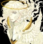 1boy berserk blue_eyes feathers frown griffith hair_over_one_eye halo highres long_hair male_focus solo supocon uniform upper_body wavy_hair white_hair