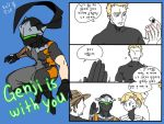 1girl 3boys 3koma beard blonde_hair blue_eyes bodysuit broken_cup comic commentary_request cowboy_hat dated facial_hair flat_color genji_(overwatch) hand_up hat high_ponytail lillu mccree_(overwatch) mercy_(overwatch) multiple_boys no_eyes overwatch power_armor short_sleeves simple_background soldier:_76_(overwatch) sweat translation_request turtleneck visor white_background younger