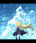 1girl air ayakashi_(monkeypanch) bird blonde_hair closed_eyes clouds highres kamio_misuzu long_hair outstretched_arms ponytail school_uniform seagull standing