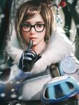 1girl bangs beads black-framed_eyewear blue_gloves brown_eyes brown_hair coat cursedapple drone eyelashes finger_to_mouth fur-lined_jacket fur_coat fur_trim glasses gloves hair_bun hair_ornament hair_stick hand_up highres lips lipstick machinery makeup mei_(overwatch) nose overwatch parted_bangs parted_lips pink_lips realistic robot ryan_tien short_hair shushing sidelocks smile snow snowball_(overwatch) snowflake_hair_ornament snowflakes snowing solo swept_bangs tree upper_body winter_clothes winter_coat