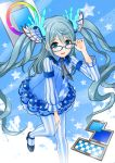 1girl adjusting_glasses ameisensou blue-framed_eyewear blue_dress blue_eyes dress glasses hair_ornament highres long_hair looking_at_viewer open_mouth pixiv pixiv-tan silver_hair solo striped striped_legwear twintails