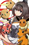10s 1girl :3 absurdres akizuki_(kantai_collection) brown_hair charmander commentary_request crossover doduo eevee gloves grey_eyes hair_ornament hairband highres kantai_collection looking_at_viewer masa_masa neckerchief open_mouth paras pink_eyes pokemon pokemon_go ponytail school_uniform serafuku skirt smile white_gloves