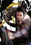 1boy arrow asymmetrical_clothes bandolier bare_shoulders beard bow_(weapon) brown_eyes brown_hair closed_mouth collarbone dragon_print dragon_tattoo facial_hair furrowed_eyebrows goatee hair_tie hanzo_(overwatch) highres holding holding_weapon japanese_clothes kimono looking_at_viewer male_focus mustache overwatch ponytail quiver short_hair smile solo tattoo upper_body weapon