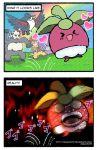 >_< 10s 2koma :d artist_name blush bounsweet closed_eyes comic fire goomy halftone honchkrow looking_back no_humans open_mouth pangoro pokemon pokemon_(creature) pokemon_(game) pokemon_sm rainbow scared scrafty smile sweat xd