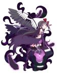 1girl akemi_homura akuma_homura argyle argyle_legwear bare_shoulders black_dress black_feathers black_hair black_wings bow dark_orb_(madoka_magica) dress elbow_gloves feathered_wings gecchu gloves hair_bow heart highres long_hair looking_at_viewer mahou_shoujo_madoka_magica mahou_shoujo_madoka_magica_movie parted_lips simple_background solo thigh-highs violet_eyes white_background wings