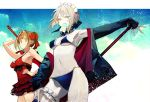 2girls aestus_estus ahoge artoria_pendragon_(all) artoria_pendragon_(swimsuit_rider_alter) bangs bikini black_bikini blonde_hair blue_legwear braid breasts cowboy_shot dress_swimsuit fate/extra fate/grand_order fate_(series) flower food french_braid frilled_bikini_top green_eyes hair_between_eyes hair_flower hair_intakes hair_ornament hand_on_hip hibiscus hood hoodie jacket leg_garter maid_bikini maid_headdress mouth_hold multiple_girls navel nero_claudius_(fate) nero_claudius_(fate)_(all) nozaki_tsubata open_clothes open_hoodie popsicle red_flower saber_alter simple_background sleeves_past_wrists small_breasts swimsuit teeth thigh-highs thighs under_boob white_background yellow_eyes