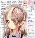 1girl actas_(studio) anatomy boko_(girls_und_panzer) bone brain eyes girls_und_panzer highres media_factory school_uniform sekai_saisoku_no_panda shimada_arisu solo teddy_bear translation_request x-ray