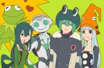 2girls 3boys alternate_costume animal_connection animal_costume asui_tsuyu black_hair blue_hair boku_no_hero_academia breasts eruka_frog fran_(reborn) frog frog_costume frog_eyes frog_girl green_eyes hat headphones heart hu_(saimens) katekyo_hitman_reborn kermit_the_frog long_hair looking_at_viewer lucio_(overwatch) multiple_boys multiple_girls muppets overwatch short_hair soul_eater the_muppet_show tongue tongue_out trait_connection