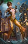 1girl assisted_exposure breasts brown_hair building cleavage full_body gloves moon navel night night_sky norman_de_mesa open_mouth outdoors overwatch short_hair sky solo spiky_hair statue stomach tearing_clothes torn_clothes tracer_(overwatch) tree wardrobe_malfunction