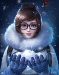 1girl artist_name bangs beads black-framed_eyewear blue_gloves brown_eyes brown_hair coat eyelashes fur-lined_jacket fur_coat fur_trim glasses gloves hair_bun hair_ornament hair_stick hands_up highres lips lipstick looking_at_viewer makeup mei_(overwatch) mvalentinus nose open_mouth overwatch parted_bangs pink_lips short_hair sidelocks signature smile snow snowflake_hair_ornament snowing solo swept_bangs upper_body winter_clothes winter_coat xiaoguimist