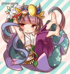 1girl :o armpits arms_up barefoot blush cape hakama japanese_clothes kimono long_hair lowres marshmallow_mille purple_hair puzzle_&_dragons red_eyes very_long_hair yomi_(p&d)