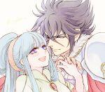 1boy 1girl black_hair blue_hair couple gullinbursti_frodi hetero jobo_(isi88) long_hair looking_at_another lyfia_(saint_seiya:_soul_of_gold) open_mouth saint_seiya saint_seiya:_soul_of_gold smile violet_eyes