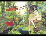 1girl absurdres bangs bare_legs bare_shoulders barefoot between_legs black_hair blush dress fish floating_hair from_side hand_between_legs highres letterboxed long_hair looking_to_the_side moss nature original outdoors reflection seaweed sitting sleeveless sleeveless_dress solo stream surreal traditional_media tree_stump umezakura v_arms violet_eyes water